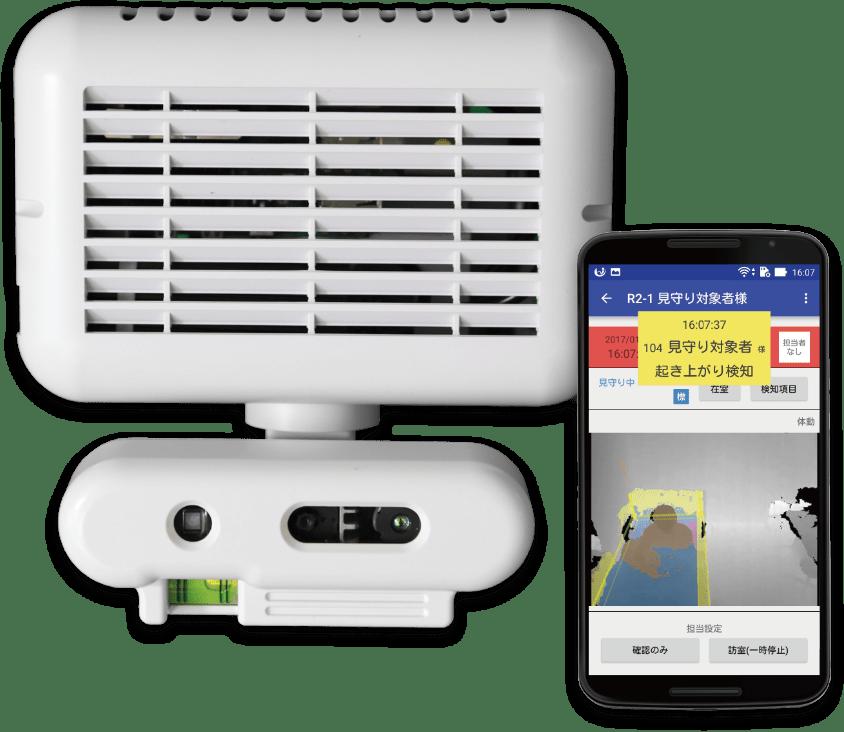 介護ロボット 見守りシステム Neos + Care機器とスマホ画面の写真